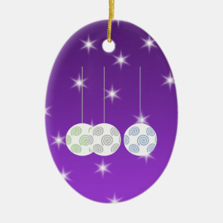 3 White Christmas Baubles on Purple Background. Ceramic Ornament