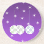 3 White Christmas Baubles on Purple Background. Coaster