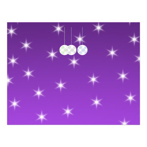 3 White Christmas Baubles on Purple Background. Flyer