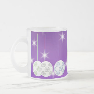 3 White Christmas Baubles on Purple Background Coffee Mugs
