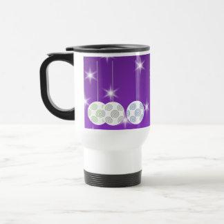 3 White Christmas Baubles on Purple Background Mug