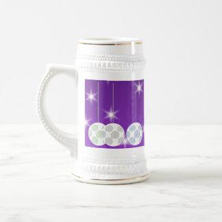 3 White Christmas Baubles on Purple Background Coffee Mug