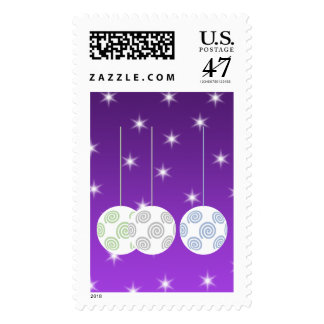 3 White Christmas Baubles on Purple Background. Postage