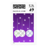 3 White Christmas Baubles on Purple Background. Stamp