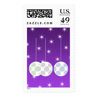 3 White Christmas Baubles on Purple Background. Postage Stamps