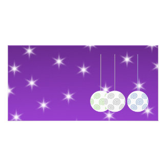 3 White Swirl Design Christmas Baubles. On Purple Card