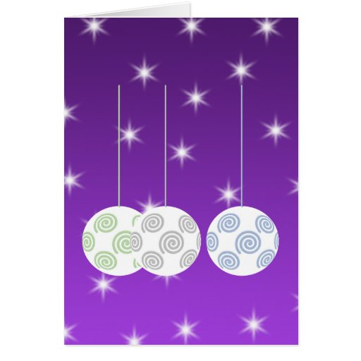 3 White Swirl Design Christmas Baubles. On Purple Greeting Cards