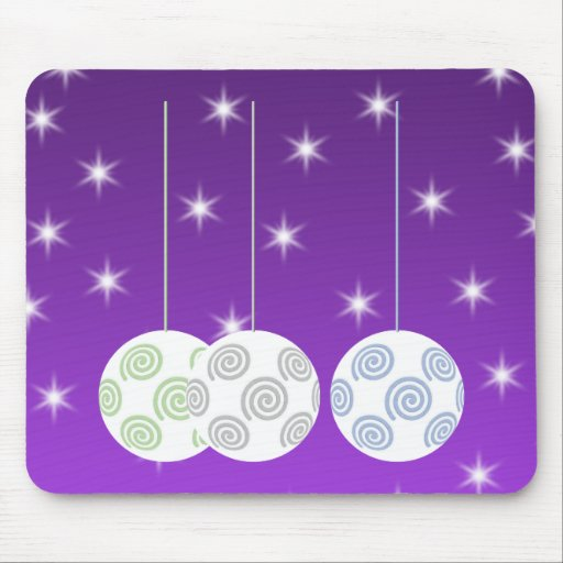 3 White Swirl Design Christmas Baubles. On Purple Mouse Pad