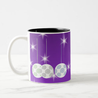 3 White Swirl Design Christmas Baubles On Purple Coffee Mugs