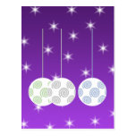 3 White Swirl Design Christmas Baubles. On Purple Postcard