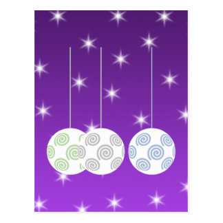 3 White Swirl Design Christmas Baubles. On Purple Postcard