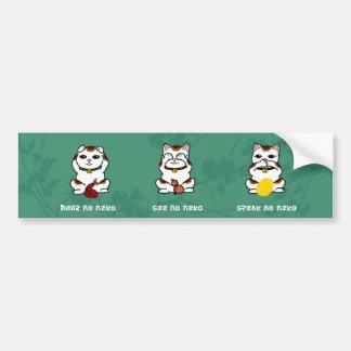 3 Wise and Lucky Neko Bumpersticker Car Bumper Sticker