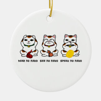 3 Wise and Lucky Neko Ornament