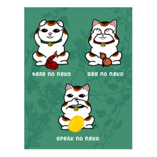 3 Wise and Lucky Neko Postcard