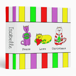 3 Wise Cats - Peace, Love, Christmas - Holiday 3 Ring Binder