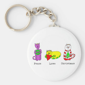 3 Wise Cats - Peace, Love, Christmas - Holiday Keychain