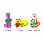3 Wise Cats - Peace, Love, Christmas - Holiday Post Cards