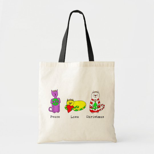 3 Wise Cats - Peace, Love, Christmas - Holiday Tote Bag