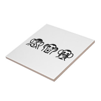 3 Wise Monkeys Emoji Ceramic Tile