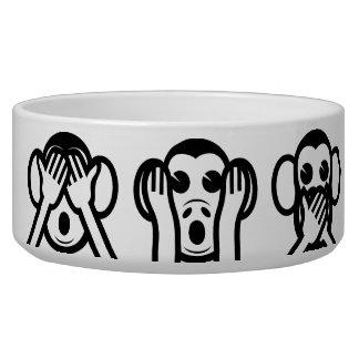 3 Wise Monkeys Emoji Pet Water Bowls