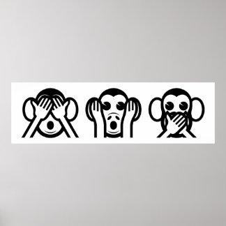 3 Wise Monkeys Emoji Poster