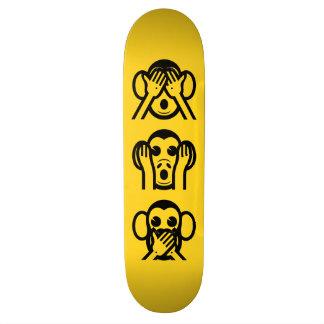 3 Wise Monkeys Emoji Skateboard