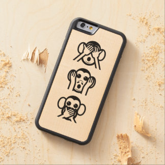 3 Wise Monkeys Emoji Carved® Maple iPhone 6 Bumper Case