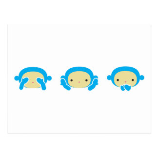 3 Wise Monkeys Postcard