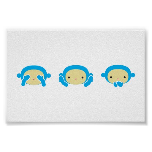 3 Wise Monkeys Poster