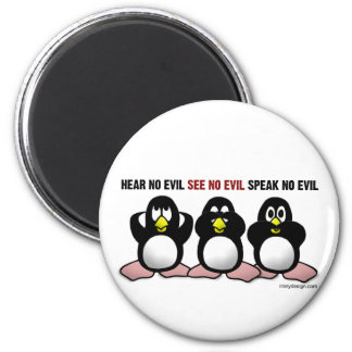 3 Wise Penguins 2 Inch Round Magnet