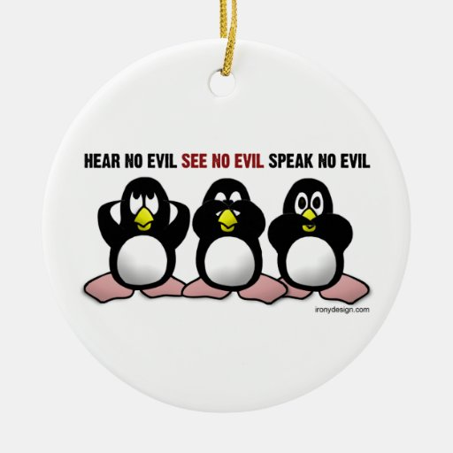 3 Wise Penguins Double-Sided Ceramic Round Christmas Ornament