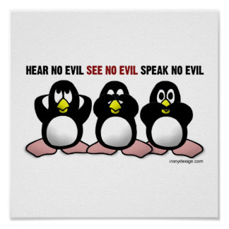 3 Wise Penguins Poster