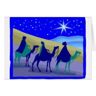 3 Wisemen on camels Christian artwork Card