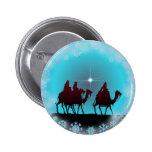 3 WISEMEN, SNOWFLAKES & STAR by SHARON SHARPE Pinback Button