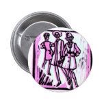 3 women pink button