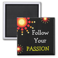 3 Word Quote Magnets- Follow Your Passion 2 Inch Square Magnet