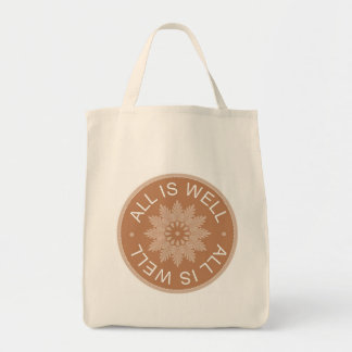 3 Word Quotes ~All Is Well ~Inspirational Grocery Tote Bag