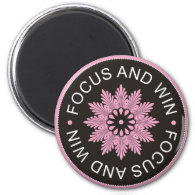 3 Word Quotes ~Focus And Win ~motivational 2 Inch Round Magnet
