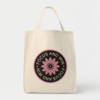 3 Word Quotes ~Focus And Win ~motivational Grocery Tote Bag