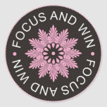 3 Word Quotes ~Focus And Win ~motivational Round Sticker
