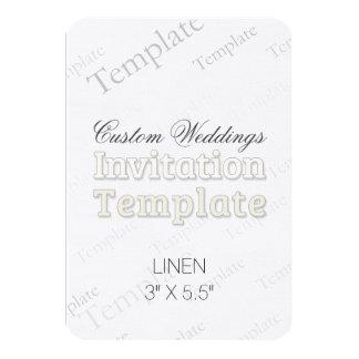 "3"" x 5.5""  Linen Custom Wedding Invitation Round"