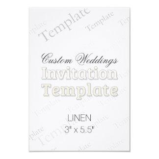 "3"" x 5.5"" Linen Custom Wedding Invitation Square"