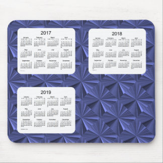 3 Year 2017-2019 Blue Diamonds Calendar Mousepad
