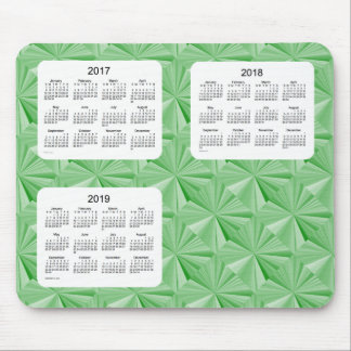 3 Year 2017-2019 Green Diamonds Calendar Mousepad
