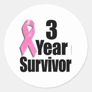 3 Year Breast Cancer Survivor Classic Round Sticker
