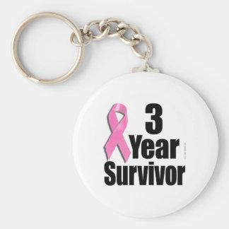 3 Year Breast Cancer Survivor Keychain