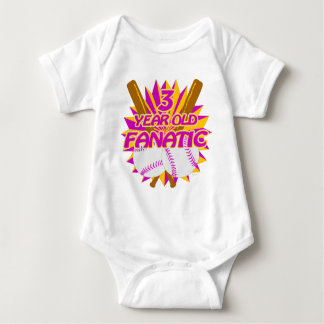 3 Year Old Baseball Fanatic Baby Bodysuit
