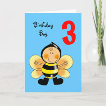 Year Old Birthday Greeting Cards, Note Cards and 3 Year