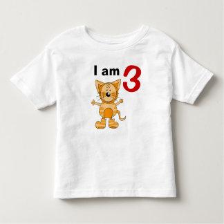 3 year old birthday boy/girl gift (orange cat) toddler t-shirt