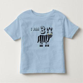 3 year old birthday boy/girl gift (zebra) toddler t-shirt